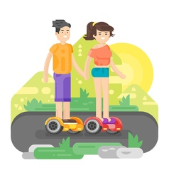 flat style of young man and woman riding an vector image