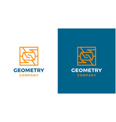 Geometric logotype template positive and negative vector