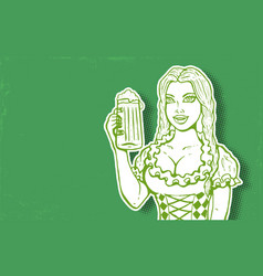 girl and beer vector image