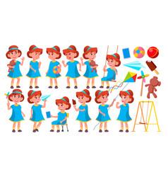 girl kindergarten kid poses set happy vector image