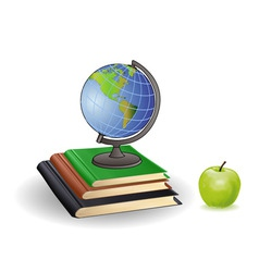 globe books and green apple on a white background vector image