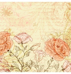 Grungy retro background with roses vector image