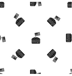 Hamburger pattern seamless black vector