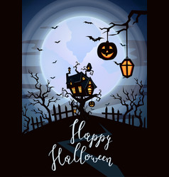 happy halloween party poster with spooky castle vector image
