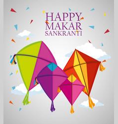 Happy makar sankranti ceremony with kites vector