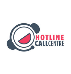 hotline call centre red and grey graphic logo vector image