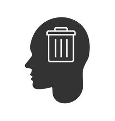 Human head with trashcan inside glyph icon vector