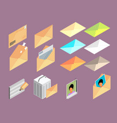 Icon of letter set isometric effect vector