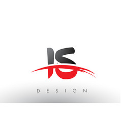 Is i s brush logo letters with red and black vector