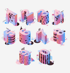 isometric collection with pastel colored vector image