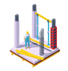 Isometric concrete building construction vector