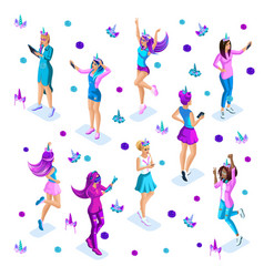 Isometrics girls teenagers generation z bright vector