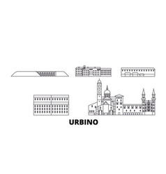 Italy urbino line travel skyline set italy vector
