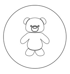 Little bear black icon in circle isolated vector
