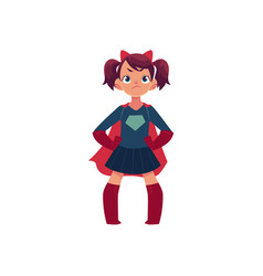 little girl in superhero costume and devil horns vector image