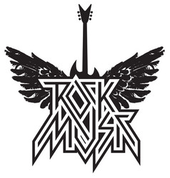Logo rock music with guitar and wings vector
