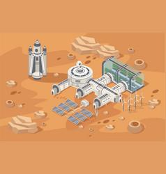 Mars colonization concept vector