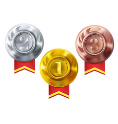 medals gold silver bronze champion awards vector image