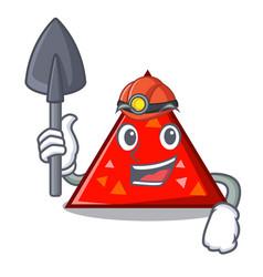 Miner triangel mascot cartoon style vector