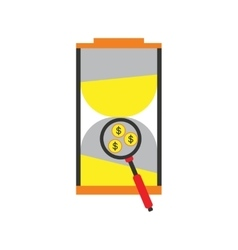 Modern flat icon stylish hourglass and coins vector image