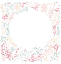 Multicolored filigree ornament circle frame sketch vector