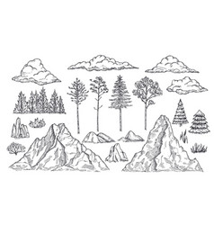 nature landscape elements mount rocks trees and vector image