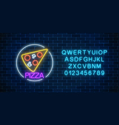 Neon glowing sign of pizza in circle frame with vector