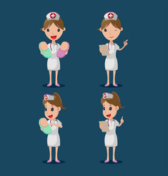 nurse cartoon character white cloth set vector image