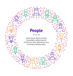 People avatars characters staff thin line banner vector
