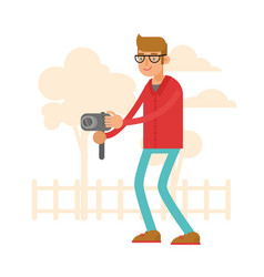 photographer cartoon character vector image