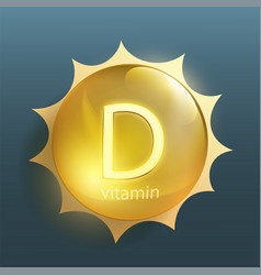 Pill vitamin d with sun rays vector