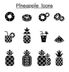pineapple icon set vector image