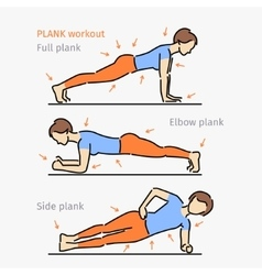 Plank workout woman making exercise vector