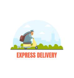 postman in uniform delivering letters on motorbike vector image