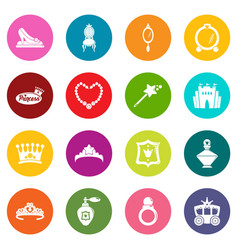 princess doll icons set colorful circles vector image