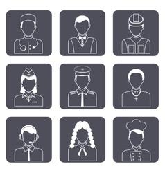 Professional avatar icons set vector
