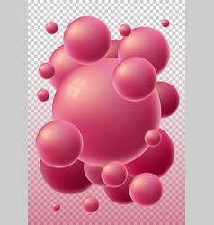 red 3d glossy spheres with reflections vector image