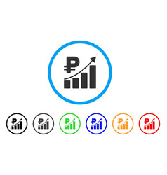 rouble growth trend rounded icon vector image