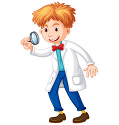Scientist holding magnifying glass in hand vector