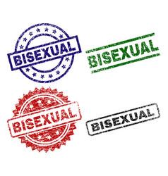 Scratched textured bisexual stamp seals vector