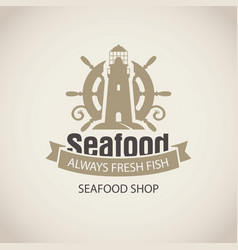 seafood banner with a ship helm and lighthouse vector image vector image
