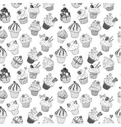 seamless background with doodle sketch cupcakes on vector image