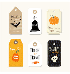 set cute halloween gift tags labels vector image
