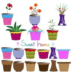Set of colorful flowerpots vector image