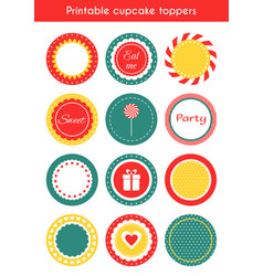 Set of printable tags cupcake toppers labels vector