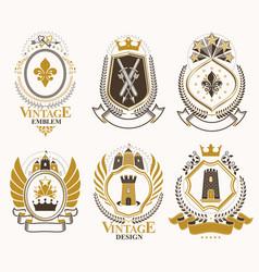 Set vintage elements heraldry labels stylized vector