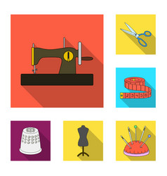 Sewing atelier flat icons in set collection vector