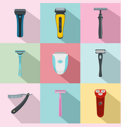 Shaver blade razor personal icons set flat style vector