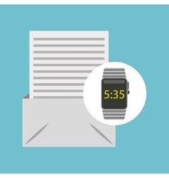 Smart watch technology with email envelope vector