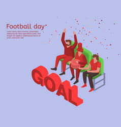 soccer day concept background isometric style vector image
